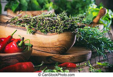 Fresh herbs - thyme, rosemary, chili, mint, parsley
