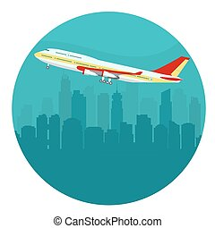Airplane above the Cityscape. vector - Airplane above the...