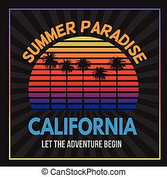 California typography print design, vector illustration