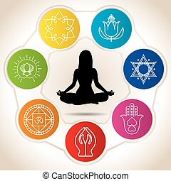Silhouette of woman in meditation position surrounded by seven colored circles with icons of yoga and reiki - Vector image