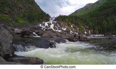 Waterfall Uchar. Altai mountains, Siberia, Russia