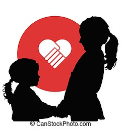 children silhouette with red heart illustration