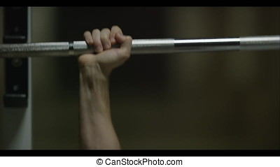 Barbell and Weights at the Modern Gym Room Fitness Center...
