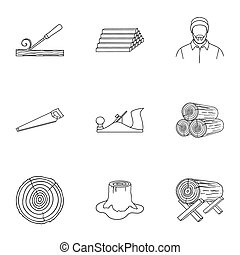 Sawmil and timber set icons in outline style. Big collection...