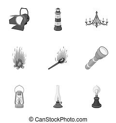 Light source set icons in monochrome style. Big collection...