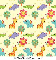 Seamless pattern wild animal - Vector illustration seamless...