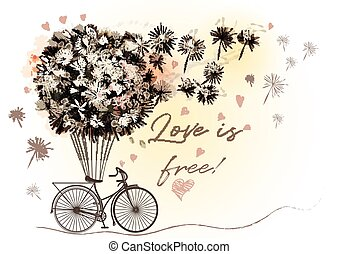 Cute romantic vector illustration with retro bicycle and dandelions in vintage style.eps