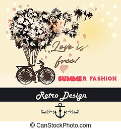 Fashion illustration or beautiful save the date card with...