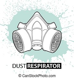 Respirator against dust on a bright background