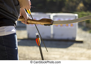 Archery Range with Bow and Arrows - Archery or shooting...