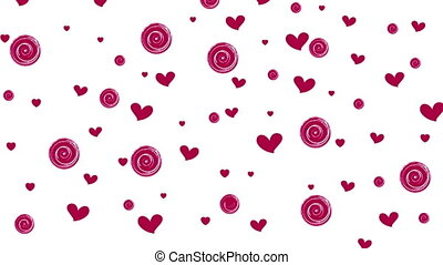 Pink purple hearts and circles on white background motion...