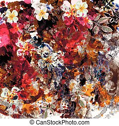 Abstract botanical floral background wth spots and flowers. Tropical grunge style.eps