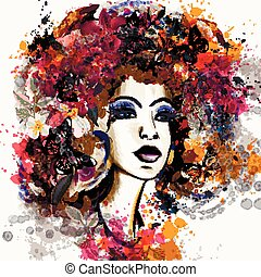 Beautiful fashion illustration in watercolor style with...