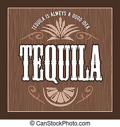 Vintage alcohol tequila drink vector bottle label. Sticker...