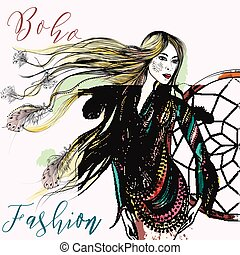 Beautiful boho fashion illustration with longhaired girl...