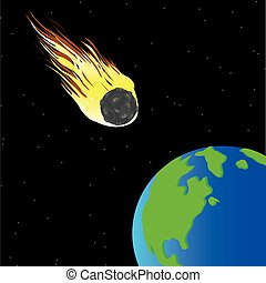 Comet and planet land - Comet flying to planet land from...