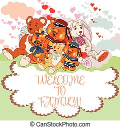Cute children card with pretty animals. Welcome to...