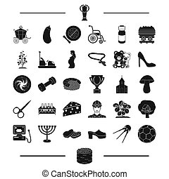 football, mine, pregnancy and other web icon in black style....