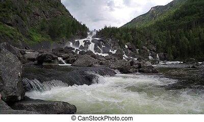 Waterfall Uchar. Altai mountains, Siberia, Russia -...