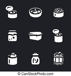 Vector Set of Canned food Icons. - Pate, fish, caviar, jam,...