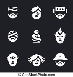 Vector Set of Nuthouse people Icons.