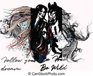 Fashion trendy illustration with beautiful girl and horse....