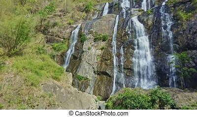 Close Wide Aerial View Powerful Waterfall in Highlands -...