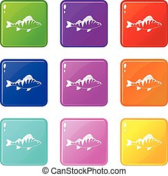 Fish icons 9 set - Fish icons of 9 color set isolated vector...