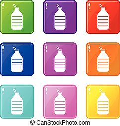 Large bottle of water icons 9 set - Large bottle of water...