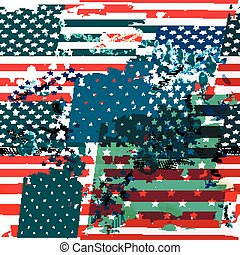 Grunge background or pattern with USA flag. Vintage style.eps