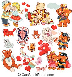 Huge collection of vector hand drawn child animals, bears,...