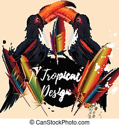 Beautiful tropical poster or banner with toucans and colorful feahters.eps