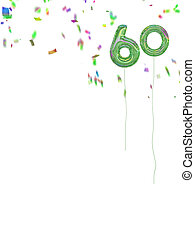 Foil style 60th birthday balloons with confetti. White...