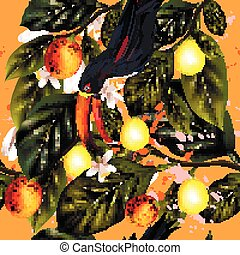 Bright tropical pattern with citrus, leafs and toucan...