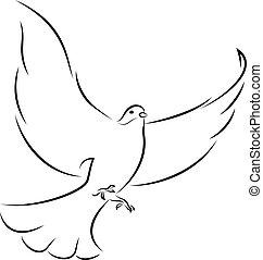 Flying White Dove - Line Art Vector Illustration Of A Flying...