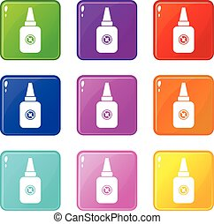 Insect spray icons 9 set
