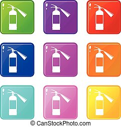 Fire extinguisher icons 9 set