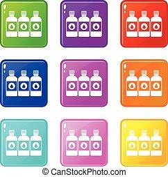 Printer ink bottles icons 9 set - Printer ink bottles icons...