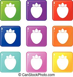 Ripe persimmon icons 9 set - Ripe persimmon icons of 9 color...