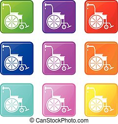 Wheelchair icons 9 set - Wheelchair icons of 9 color set...
