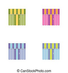 Set of storefront icons with awning. Shopping concept