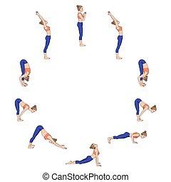 Sun salutation. Surya namaskara A. Yoga sequence.