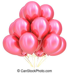 3D illustration of pink party helium balloons birthday decoration
