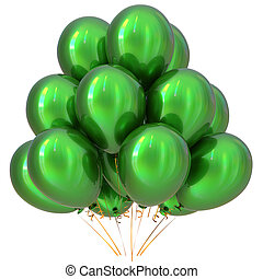 3D illustration of green party helium balloons carnival decoration