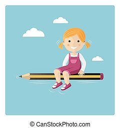 Blonde girl flying in a pencil through the sky
