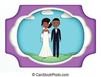 Paper art background with African American bride and groom. Vect