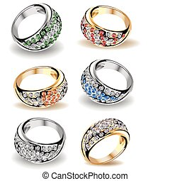 Set wedding rings and diamonds. Vector - Gold wedding rings...