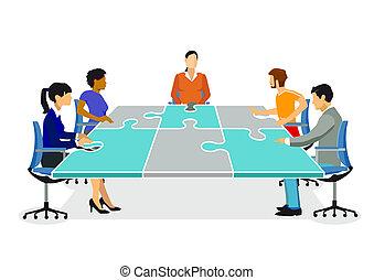 zusammen planen - Plan and organize, strategy illustration