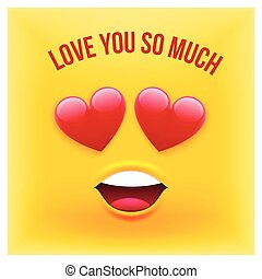 Vector Emoji Style Card with Text Love You So Much