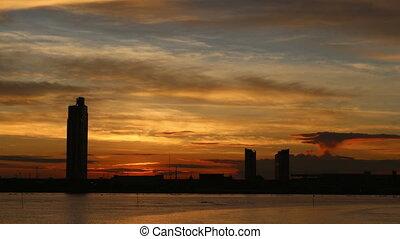 Timelapse sunrise river side bangkok Thailand